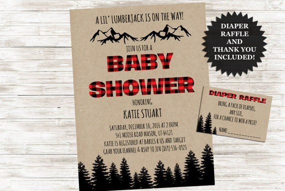 Lumberjack Baby Shower Invite Winter Plaid Invitation 5x7 Digital Flannel Personalized