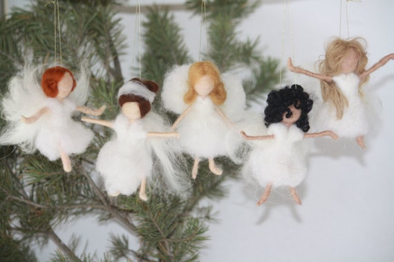 Needle Felted Angel Christmas Ornaments Snow And Ice Children Winter Seasonal Decor White Angels Dancing Angels Waldorf Angel Waldorf Gifts
