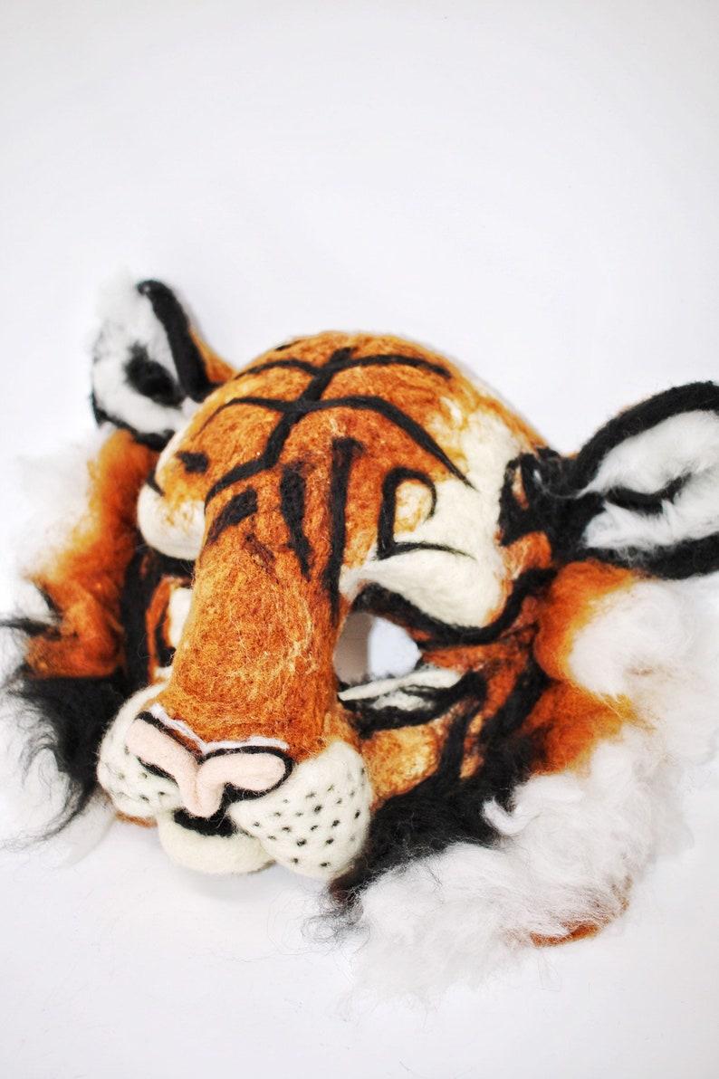 Needle felted Tiger mask/ Halloween mask/ theatrical mask/ felt mask/ tiger  lover