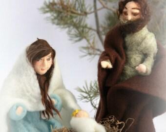 Needle Felted Nativity Set with Faces/Waldorf Nativity Set/Christmas Nativity Scene/Holiday Decor