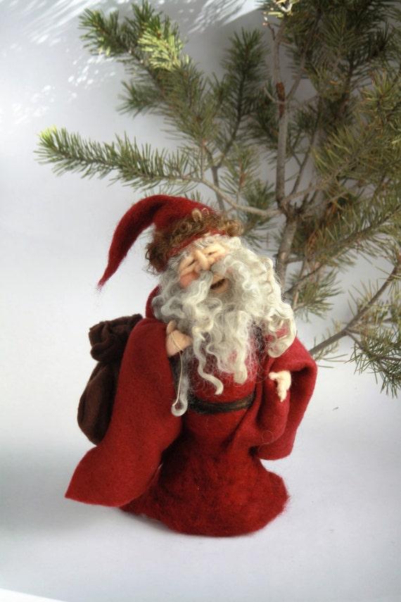 Needle Felted Santa Claus Tree Topper Felted Christmas Decor Felt Santa Father Christmas Gifts For Kids Felt Doll Holiday Decor St Nick