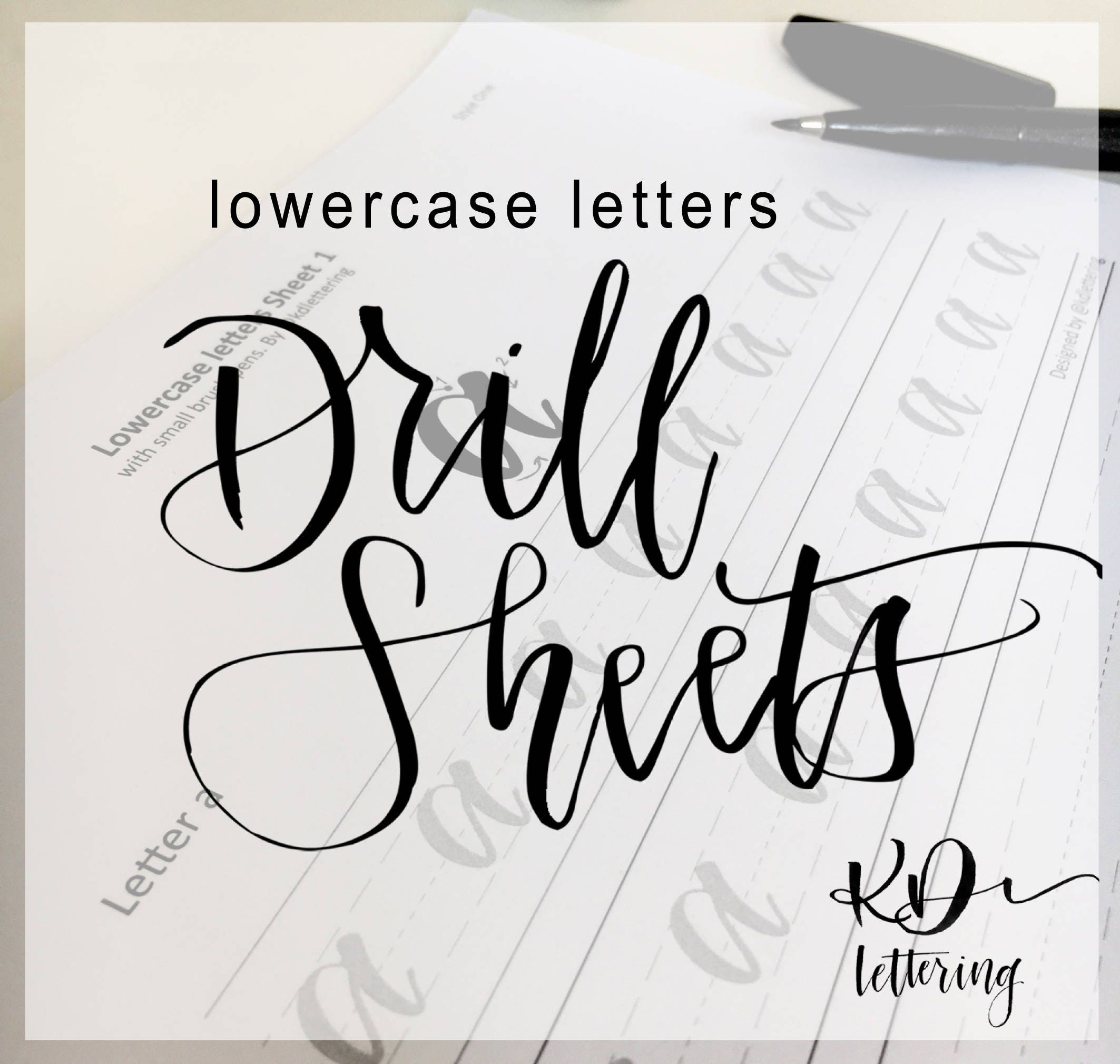 Lowercase brush lettering practice drill sheets from kdlettering on ...