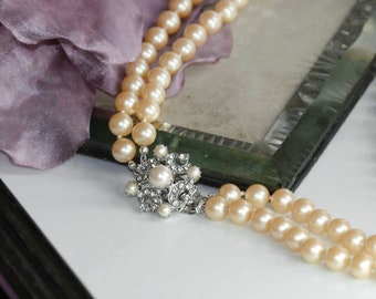 1f5a430e9 Double Strand Necklace, 2-Strand Pearl Necklace, Pearl Necklace, Statement  Necklace, Rhinestone & Pearls 18