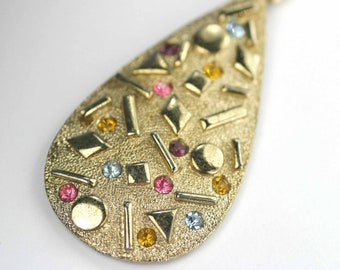 Vintage 1950s Sarah Coventry Sultana Collection Long Pendant Chain Geometric Shapes