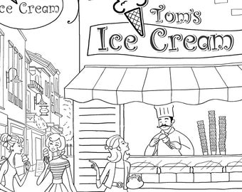 Adult Colouring Page, Printable Colouring Pages, yalzza, lovely girls. ice cream shop, A4 300 dpi jpg