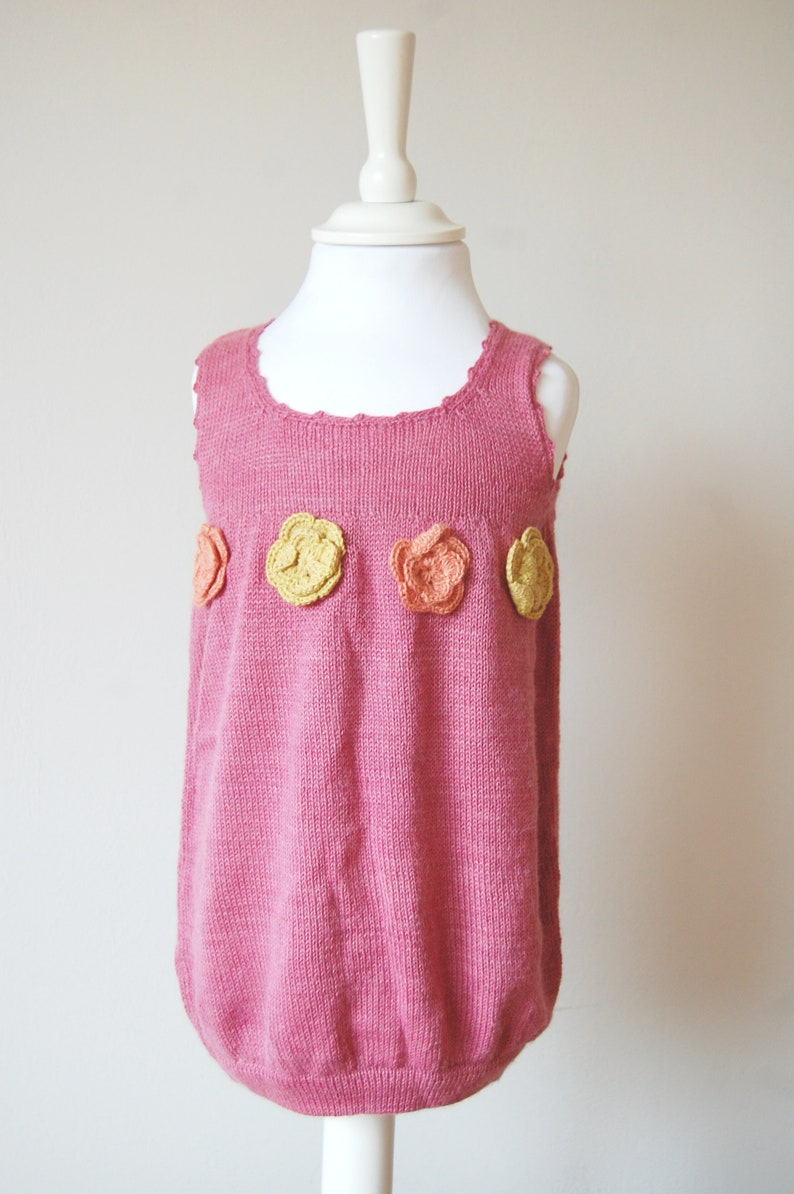 Pink Bubble Dress for Girl Hand Made of !00/% Hand Dyed Organic Alpaca Winter Holiday Family Portrait Elegant Knitted Christmas  Pinafore