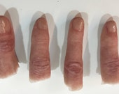 Severed silicone finger props, coloured or uncoloured. Realistic severed fingers perfect for film, TV, stage, cosplay and Halloween.