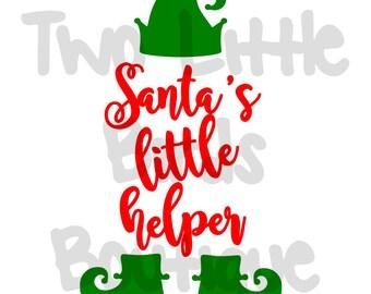 Santa's Little Helper, svg, christmas design, onesie design, cricut, cameo, silhouette