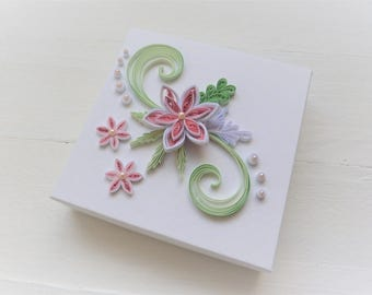 Luxury Paper Gift Box/Gift Box with Flowers/Handmade Gift Box/Quilled Gift Box