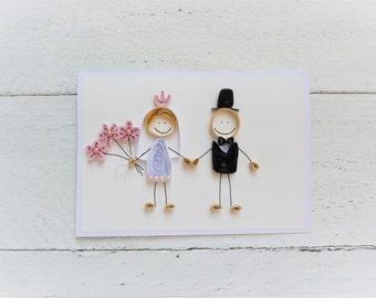 Quilled card/wedding card/Greeting card/handmade card