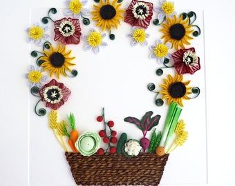Quilled Paper Art/Quilled Basket with Flowers/Quilled Vegetables/Paper Wall Hanging