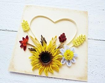 Quilled Card/St.Valentine Day Card/Sunflower Card/Birthday Card/Wedding Card