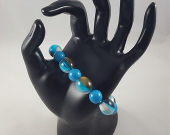 Multi-Color Bracelet with Blue, White, and Bronze Colors