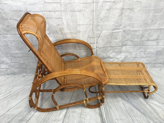 Astonishing Vintage Rattan And Cane Lounge Chair With Attached Ottoman Beatyapartments Chair Design Images Beatyapartmentscom