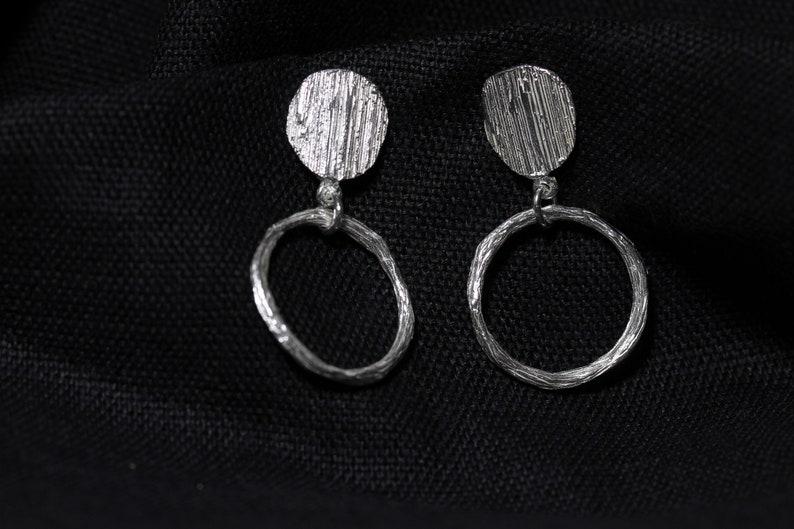 drop earrings Forest Hula Earrings Boho Dangle Earrings Unusual Statement Earrings Handmade Silver Tree Bark Twig Hoop Earrings