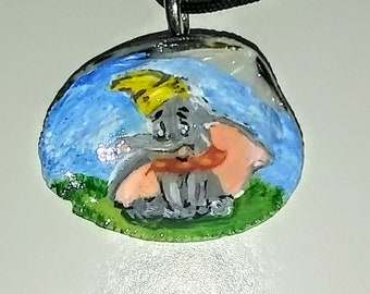 dumbo necklace, painted, shell, jewelry, disney, elephant