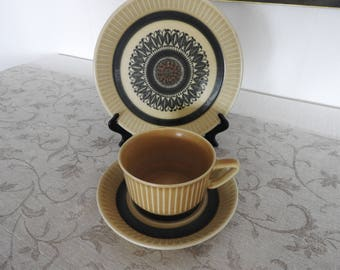 "Stavangerflint/Norway ""Norröna""  tea cup, saucer and  small plate/ Designed by Inger Waage/mid century modern"