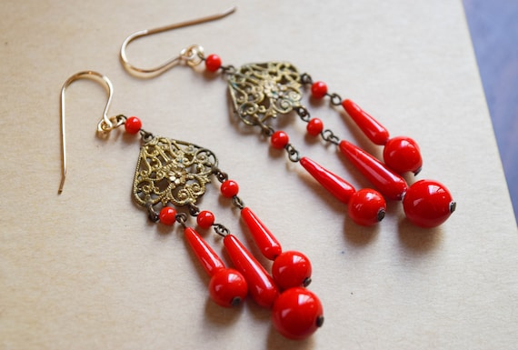 Victorian Filigree Earrings with Scarlet Resin Roses and Large Olive Green Czech Glass Leaf Beads in Antique Brass Tone