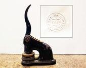 Vintage Overwaitea Vintage Cast Iron Advertising Stamp Seal Paper Embosser, Overwaitea Limited