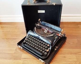 1937 Remington Rand Model 5 Streamline Portable Typewriter, With Wooden Case, Working