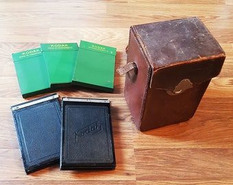 3 Packs of Kodak Super-XX Panchromatic, 2 Kodak Film Adapters, Leather Film Carrying Case