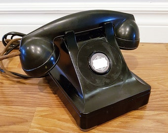 Early 1940s Western Electric 302 Bakelite Monophone, Special Intercom Telephone,With Original Cloth Cord and Leather Feet