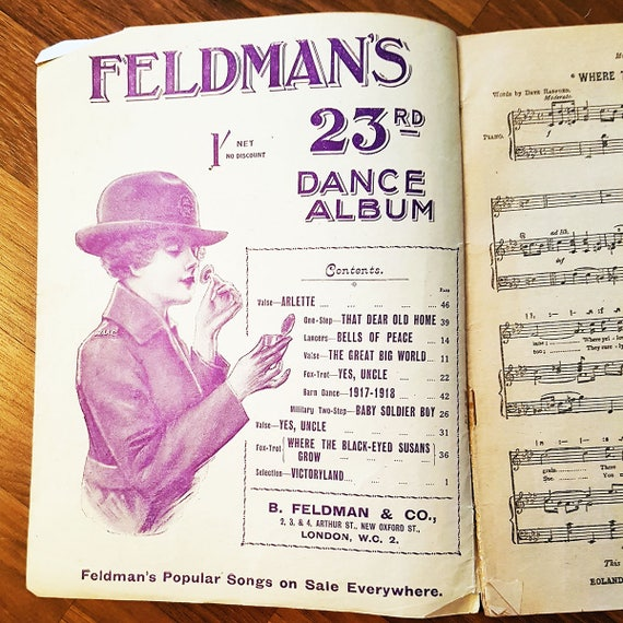 Antique Feldman's 23rd Song Annual Song Book, Circa 1918, Complete Words  and Music with Tonic Sol-Fa Setting