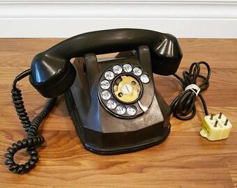 Vintage 1945 Phillips AE40 Monophone, Black Bakelite Phone, Original Plug