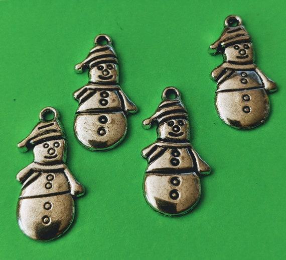 BULK 50 Snowman charms antique silver tone SF46
