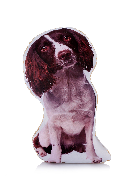 White Springer Spaniel Cushion Shaped Satin /& Velour Spaniel Gift Liver Brown
