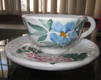 Fortebracco Ceramiche Dipinto a mano Italy  Cup and Saucer   Numbered   Hand Painted  Excellent!!!