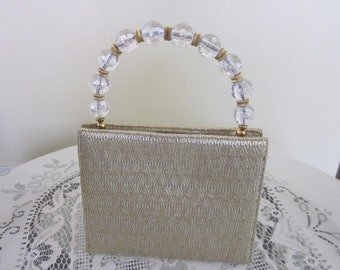Martin Van Schaak Gold Vintage Purse Handbag Clear Lucite Bead Handle