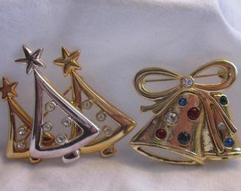 2 1960's Vintage Christmas Brooches Bell and Tree Flawless Rare Find!