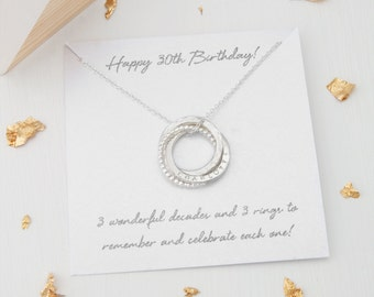 Personalised 30th Birthday Gift For Her Daughter Sister Necklace 3 Rings Decades