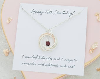 70th Birthday 9ct Solid Gold And Sterling Silver 7 Rings For Decades Mixed Metal Birthstone Necklace Gifts Her