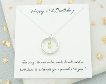 21st Birthday Gift For Her, 21st Birthday Birthstone Necklace, 21st Birthday Jewelry, 21st Birthday Gift For Daughter, 21st Keepsake Gift