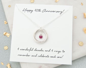 40th Anniversary Gift For Her, 40th Ruby Wedding Anniversary Gifts, 40th Anniversary Gift For Wife - '4 Rings For 4 Decades' Ruby Necklace