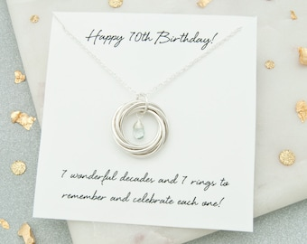 70th Birthday Gifts For Women Birthstone Necklace Jewelry Gift Mum 7 Rings Decades