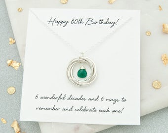 60th Birthday Gift Birthstone Necklace For Her Jewellery 6 Rings Decades