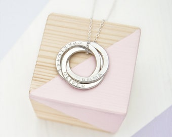 Russian Ring Necklace - Personalised with 3 Names, Engraved Necklace For Mother, 30th Birthday Gift For Her