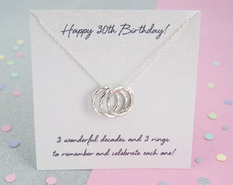 30th Birthday Gifts, 30th Birthday Ideas, 30th Birthday Gift For Daughter - 30th Birthday '3 Rings For 3 Decades' Sterling Silver Necklace