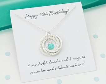Personalised 40th Birthday Birthstone Necklace Gift For Daughter Gifts Her 4 Rings Decades