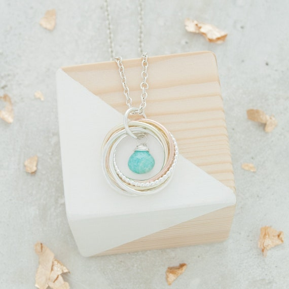 6 ring Aquamarine Necklace March Birthday 60th birthday Mixed Metals Silver and Gold Rings March Birthstone