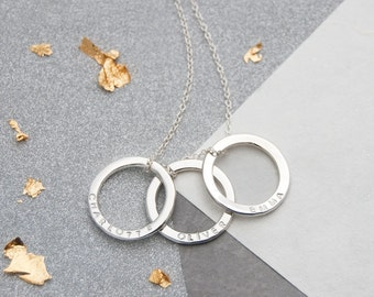 Sterling Silver Triple Ring Family Name Necklace, Personalised Gift For Mum, 30th Anniversary Gift For Wife, 30th Birthday Gift For Her