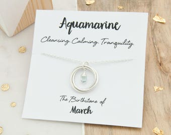 Aquamarine Birthstone Necklace, March Birthstone Necklace, Birthday Gift For Daughter, Aquamarine Birthstone Jewelry, March Birthday