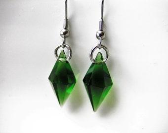 Similarish, Crystal Glass Bead Earrings, Stainless Steel