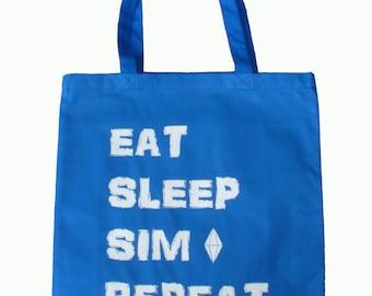 Eat, Sleep, Sim, Repeat, Tote Bag