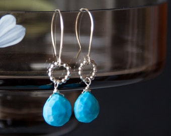 Genuine Turquoise Earrings, Real Turquoise Earrings, Sterling Silver Turquoise Earrings, Turquoise Silver Earrings, Turquoise Jewelry