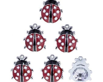 Ladybug charm in red and black enameled metal 22 x 18 mm