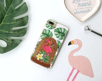Shell with glitter FLAMINGO iPhone 6 6 s 6 plus 6s plus 7 7 5 5s SE
